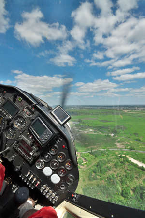 Flying a small private aircraft - view from the co-pilots seat Stock Photo