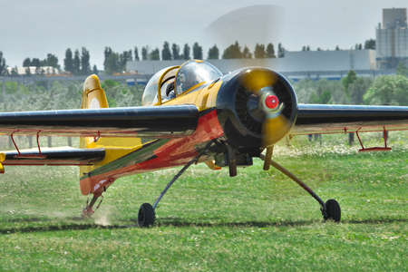 aerobatic: Aerobatic plane taxiing after landing Stock Photo