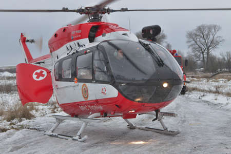 rescue helicopter: Nezhin, Ukraine - January 14, 2011: Ukrainian Ministry of Emergency Situations Eurocopter EC145 (BK-117) rescue helicopter