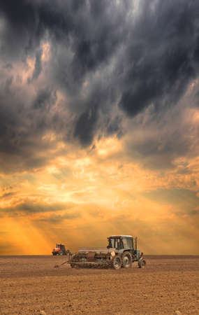 Tractor seeding the field on stormy sunset