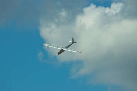 Gostomel, Ukraine - October 3, 2010: Let L-13 Blanik flying in a cloudy sky