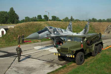 fulcrum: Vasilkov, Ukraine - August 3, 2012: Ukrainian Air Force MiG-29 being prepared for a training flight