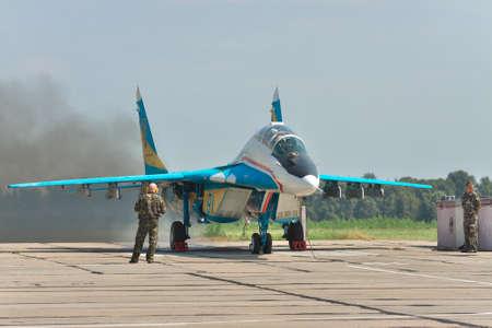 mig: Vasilkov, Ukraine - August 3, 2012: Ukrainian Air Force MiG-29 being prepared for a training flight