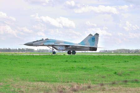 mig: Vasilkov, Ukraine - April 24, 2012: Ukrainian Air Force MiG-29 during training flights Editorial