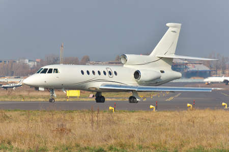 jet plane: Private business jet plane on runway at the airport Stock Photo
