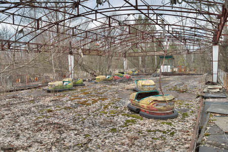 Pripyat, Ukraine - March 28, 2011: Abandoned town of Pripyat, amusement park Editorial