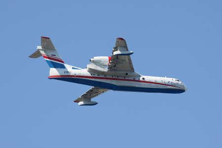 hydroplane: Gelendzhik, Russia - September 9, 2010: Beriev Be-200 multipurpose amphibian plane in flight Editorial
