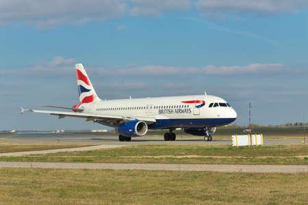 airways: Borispol, Ukraine - October 23, 2011: British Airways Airbus A320 is taxiing to the runway Editorial
