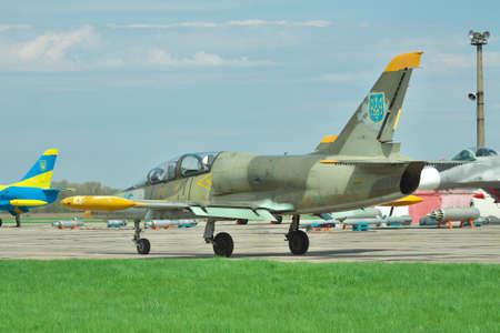 aero: Vasilkov, Ukraine - April 24, 2012: Ukrainian Air Force Aero L-39 Albatros jet trainer taxiing along the apron to the runway