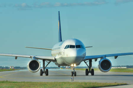 airbus: Borispol, Ukraine - September 17, 2011: Lufthansa Airbus A320 taxiing to the runway to takeoff