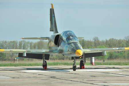 aero: Vasilkov, Ukraine - April 24, 2012: Ukrainian Air Force Aero L-39 Albatros jet trainer parked on the apron Editorial