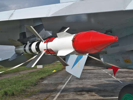 long range: Long range air-to-air missile mounted under the wing of a fighter Stock Photo