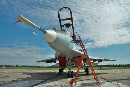 avion chasse: Vasilkov, Ukraine - le 19 Juin, 2010: Ukraine Air Force MiG-29 avion de chasse stationné sur l'aire de trafic sur la base aérienne