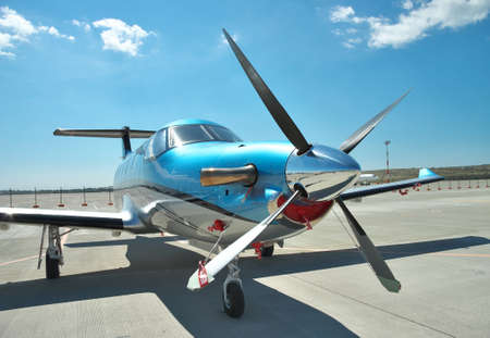 turboprop: Gelendzhik, Russia - September 10, 2010: Pilatus PC-12 light turboprop passenger plane on the apron on a sunny day Editorial
