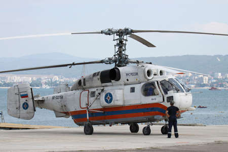 situations: Gelendzhik, Russia - September 9, 2010: Ministry of Emergency Situations of Russia Kamov Ka-32 rescue helicopter is being prepared for takeoff