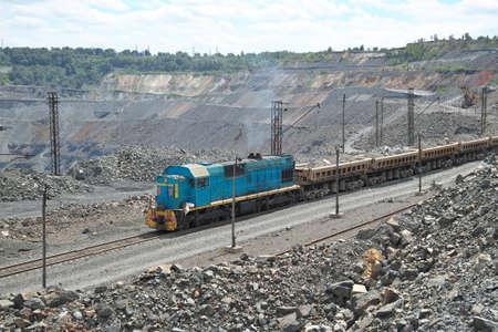 ore: Train delivering iron ore on the iron ore opencast mining