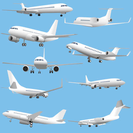 commercial airline: Set of simple detailed passenger planes and business jets.