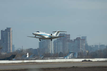 cessna: Kiev, Ukraine - March 24, 2011: Cessna 525B Citation Jet CJ3 is taking off from the airport in the city
