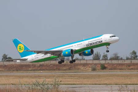 airways: Simferopol, Ukraine - September 13, 2010: Uzbekistan Airways Bowing 757-200 is taking off from the airport