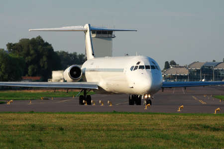 Kiev, Ukraine - July 27, 2012: McDonnell Douglas MD-83 (DC-9-83) passenger plane is taxiing to the runway for takeoff