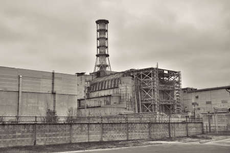 chernobyl: Chernobyl nuclear power plant in Pripyat - black and white image