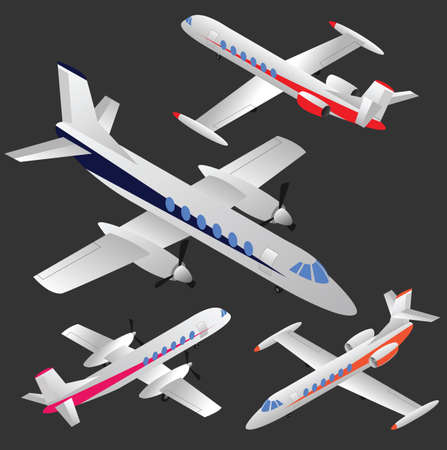 jets: Set of isometric planes - business jets and regional passenger planes. No mesh, only gradients. Illustration