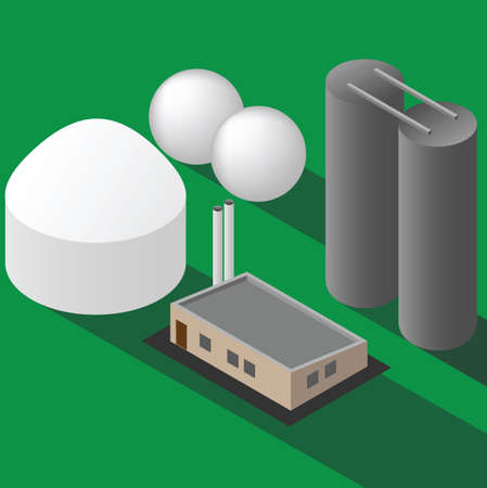 Biogas plant isometric vector on green background
