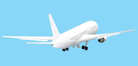 White passenger plane is taking off on blue sky background