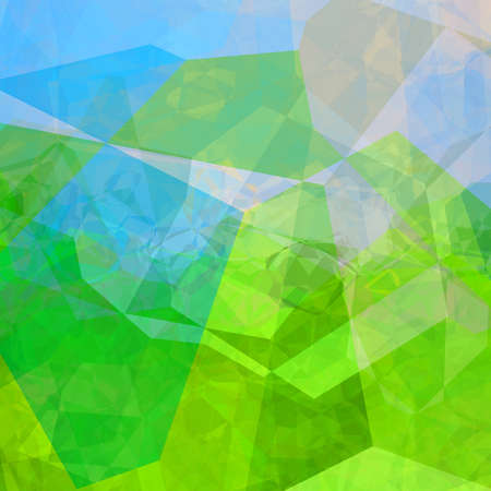 Colorful triangular background in fluorescent green and blue colors Stock Photo