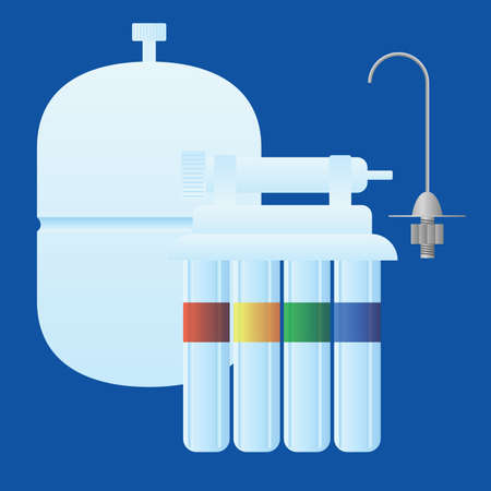 Reverse osmosis water treatment sysem consisting of filters, membrane, water tank and tap. Objects are logically grouped for easier manipulation