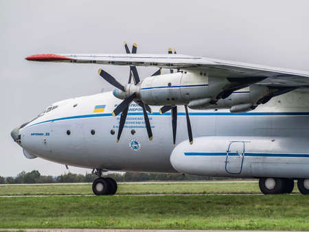 Kiev Region, Ukraine - September 25, 2008: Antonov An-22 turboprop cargo plane on the taxiway before flight Redakční