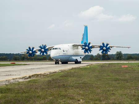 Kiev Region, Ukraine - September 25, 2008: Antonov An-70 turboprop cargo plane taxiing after a flight Editorial