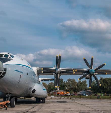 Kiev Region, Ukraine - September 25, 2008: Antonov An-22 turboprop cargo plane parked on the airfield