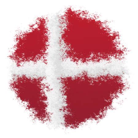 Color spray stylized flag of Denmark on white background