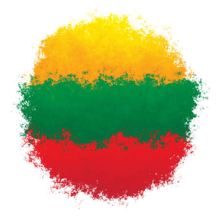 Color spray stylized flag of Lithuania on white background Stock Photo