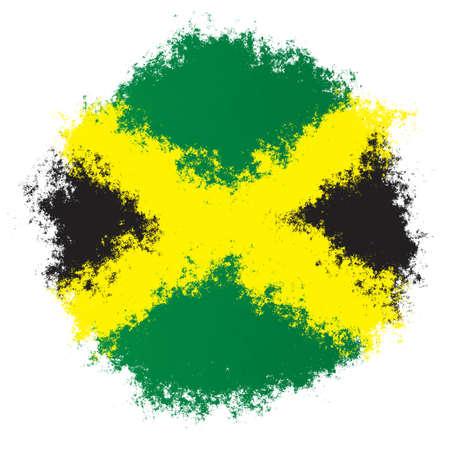 Color spray stylized flag of Jamaica on white background Stock Photo