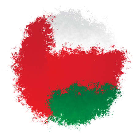 Color spray stylized flag of Oman on white background