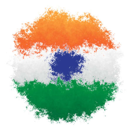 Color spray stylized flag of India on white background