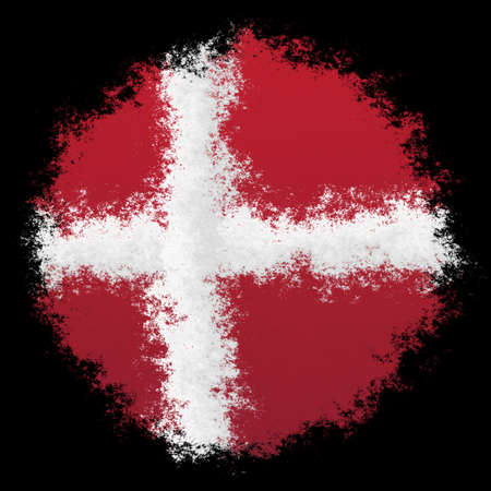 Color spray stylized flag of Denmark on black background Stock Photo