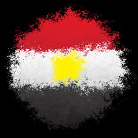 bandera de egipto: Color spray stylized flag of Egypt on white background Foto de archivo