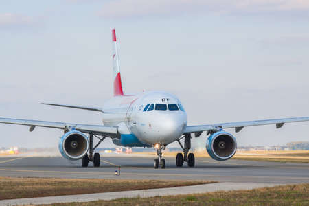 Borispol, Ukraine - October 23, 2011: Austrian Airlines Airbus A319-112 taxiing to the runway in the airport for takeoff Editorial