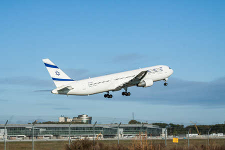 Borispol, Ukraine - October 2, 2011: El Al Boeing 767 passenger plane is taking off from the airport into blue clear sky