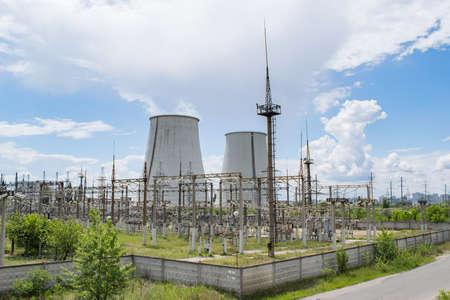 transformator: Power plant transformator station on a summer day Stock Photo