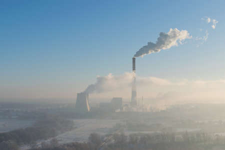 Heat powre plant on a cold winter morning Stock Photo
