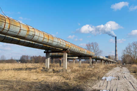 Hot water and heating pipelines near the combined heat power plant
