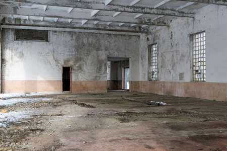 Abandoned building interior on a winter cold day