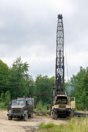 Mobile oil rig truck drilling the oil well