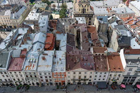 Lviv, Ukraine - August 23, 2018: Landmarks in the center of Lviv - old city in the Western part of Ukraine. View from the City Hall Tower. Redakční