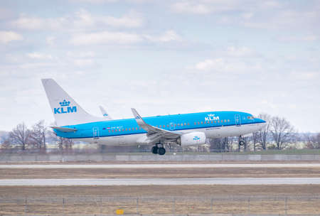 Kyiv, Ukraine - March 17, 2019: KLM Boeing 737 on short final landing in the airport