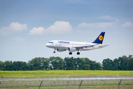 Boryspil, Ukraine - August 3, 2019: Lufthansa Airbus A319 is langing in the airport